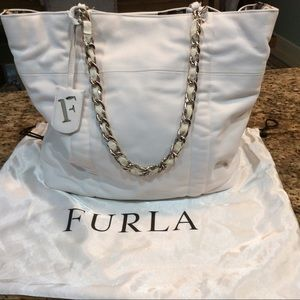 Furla White Leather and Gold Strap Bag . New